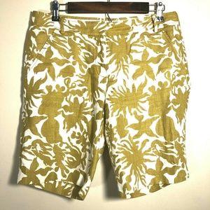 J Crew Linen Floral Print City Fit Bermuda Shorts